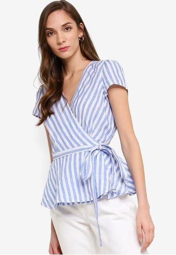 polo ralph lauren blue Short Sleeve Wrap Linen Blouse 0E0E2AA51438B0GS_1