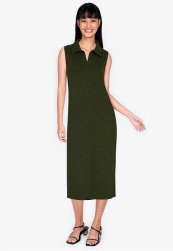ZALORA BASICS green Rib Zip Up Polo Dress 0247AAA88C05EDGS_1