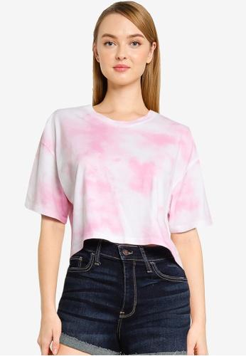 Hollister pink Crop Dad Cotton Tee 888DCAA5FBEBE5GS_1