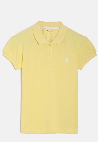 ZALZA yellow Protea 100% Organic Cotton Girls Polo Tee - Yellow 6A065KA0965ABBGS_1