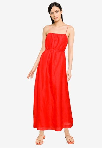 Banana Republic red Strappy Shirred A Line Maxi Dress CED87AA5787842GS_1