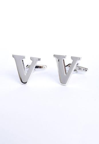Splice Cufflinks silver Monogram Alphabet Rhodium Plated Cufflinks - V SP744AC15PRKSG_1