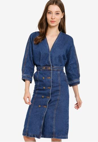 ZALORA blue Denim Kimono Sheath Dress 76BBDAAAE2C3FEGS_1