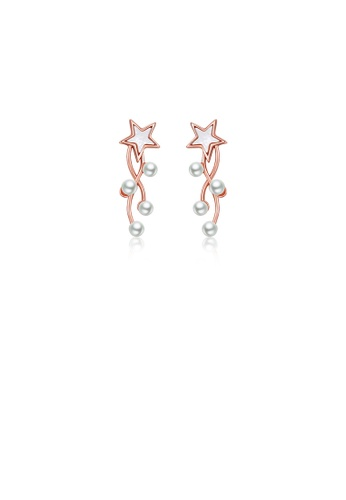 Glamorousky white 925 Sterling Silver Plated Rose Gold Fashion Simple Star Imitation Pearl Tassel Earrings 4010DAC2AC3168GS_1