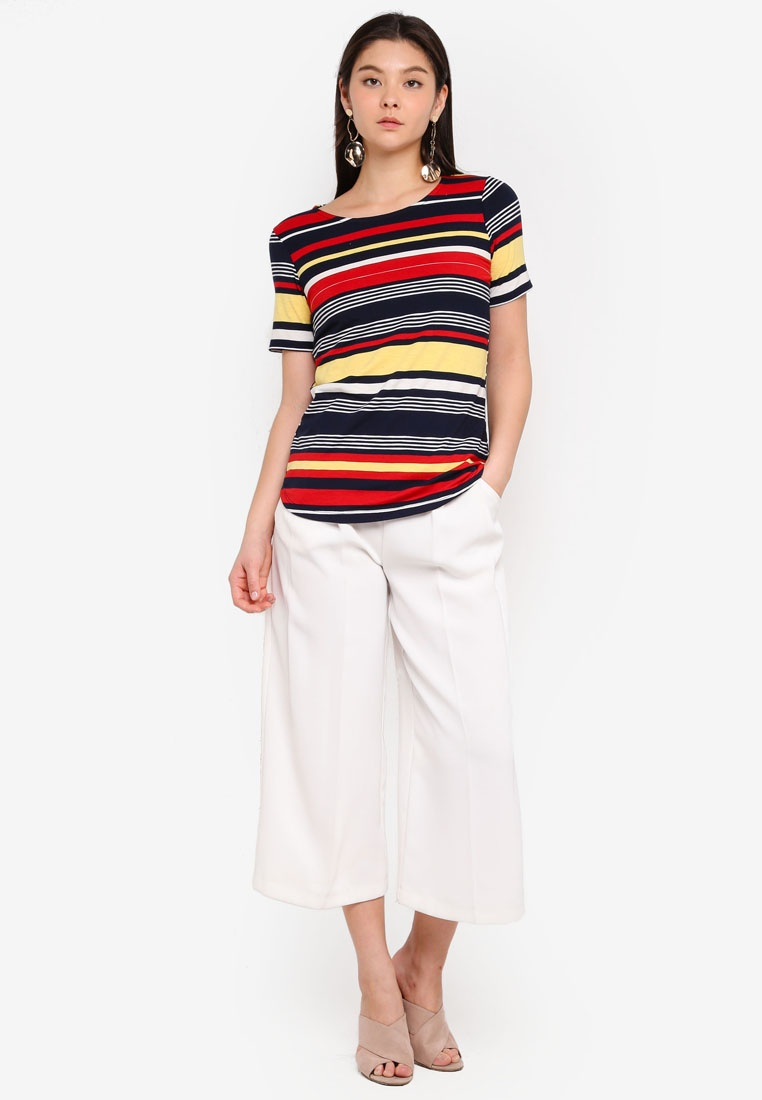 Stripe Hem Dorothy Red Curve Perkins T Shirt Multi Multi Yellow Bright YFIqY