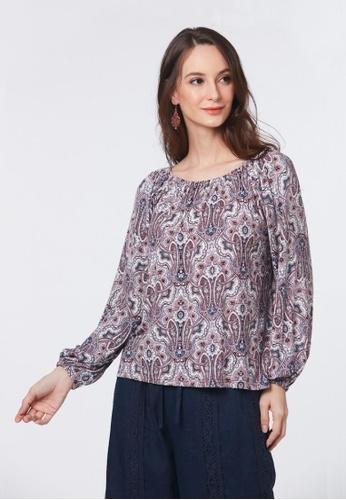 East India Company Faiza- Puff Sleeve Printed Knit Top DDF05AA212CD6AGS_1