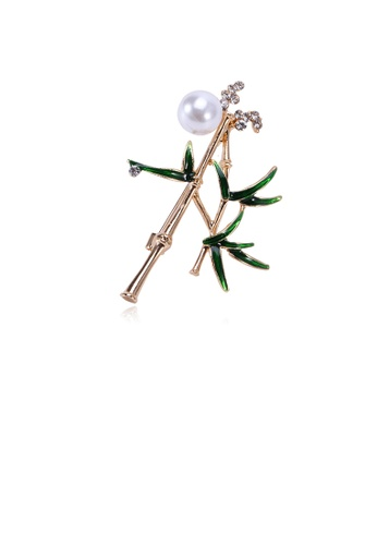 Glamorousky white Simple and Fashion Plated Gold Bamboo Imitation Pearl Brooch with Cubic Zirconia F3E73AC72DA96BGS_1
