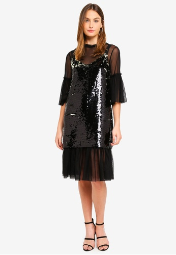 French Connection black Eve Sparkle Layered Sequin Dress 4DAF0AA829312FGS_1