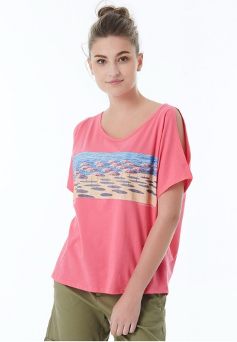 United Colors of Benetton pink Printed T-shirt 93D4DAAC8B6721GS_1