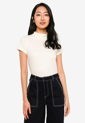 UniqTee white High Neck T-Shirt FE4EFAAA71266CGS_1