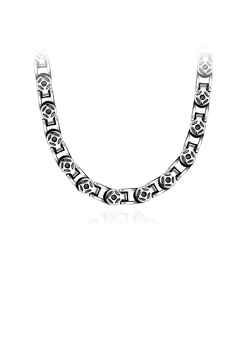 Glamorousky silver Fashion Ancient Mayan Round Pattern 316L Stainless Steel Necklace F5199ACA623843GS_1