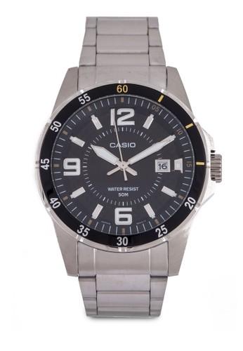 Casio MTP-1291D-1A2V 數字日esprit女裝期圓框鍊錶, 錶類, 錶類