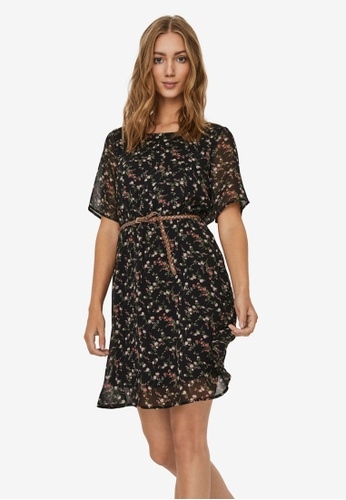 Vero Moda black Sylvia Short Sleeve Belt Short Dress 786A4AA974AF78GS_1