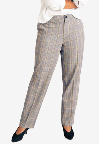 Violeta by MANGO black Plus Size Prince Of Wales Trousers 585F7AA7E06507GS_1