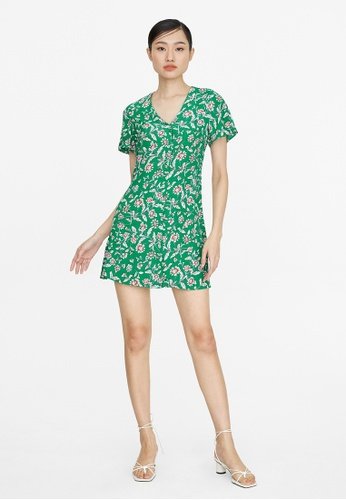 Pomelo green Mini Buttoned Down Floral Dress - Green C0A1EAACEEEE74GS_1