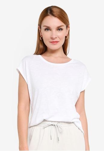 H&M white Cotton-Blend T-Shirt 64338AA67B6479GS_1
