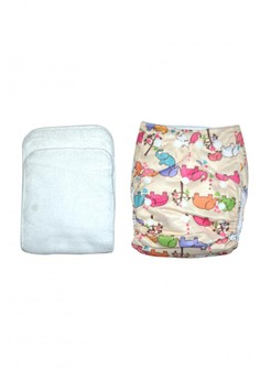Printed Cloth Diaper with 2 inserts - Elephant