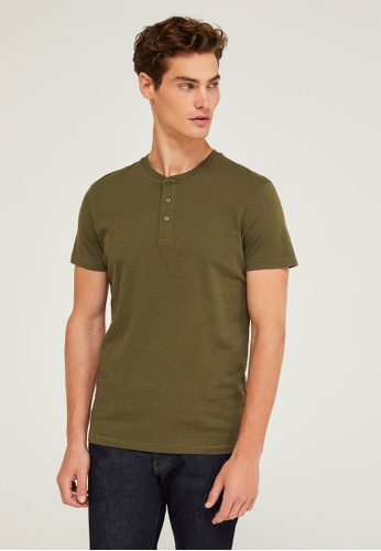 Sisley green Henley T-shirt F8AAAAA77FBA09GS_1