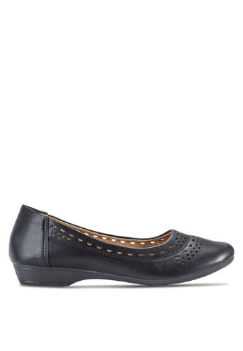 Louis Cuppers black Perforated Flats LO977SH41BDMMY_1