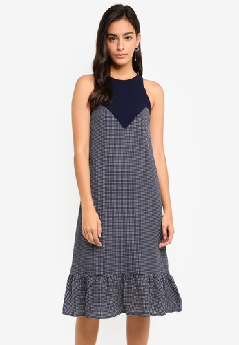 MDSCollections multi and navy Pleated Hem Contrast Dress In Navy Gingham 64AC9AA3C3CAEDGS_1