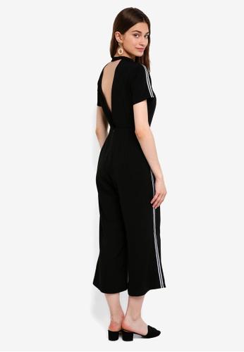 Something Borrowed black High Neck Strip Trim Jumpsuit 41ABCAA51D2830GS_1