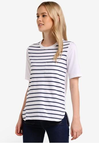 WAREHOUSE white Cotton Back Stripe Pocket Tee WA653AA0RM7BMY_1