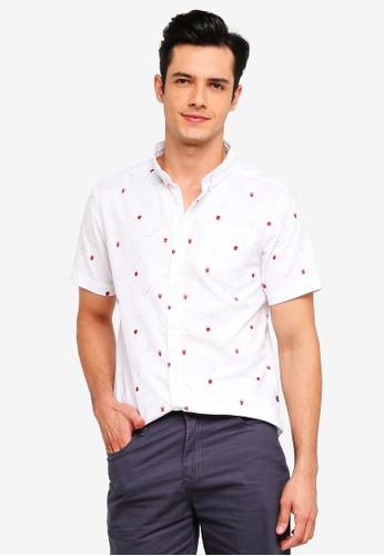 Penshoppe white Short Sleeve Printed Oxford Shirt CE4E0AA701C47EGS_1