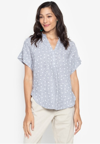 MARKS & SPENCER multi Pure Linen Polka Dot Popover Blouse A52C7AA8F1EBDFGS_1