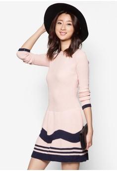 Long Sleeves Striped Peplum Wool Dress