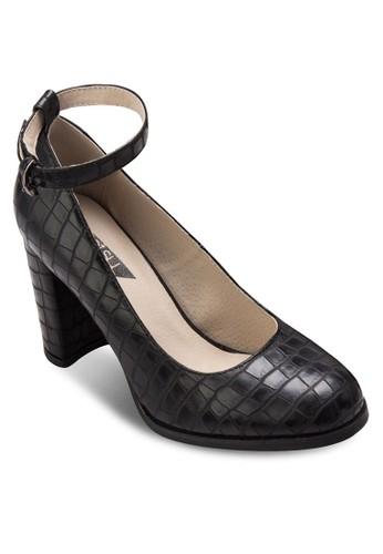 暗紋繞踝esprit 香港粗跟鞋, 女鞋, 鞋