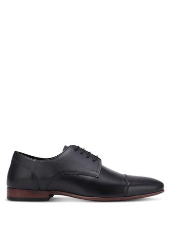 Topman black Black Leather Toecap Shoes TO100SH0K85VPH_1