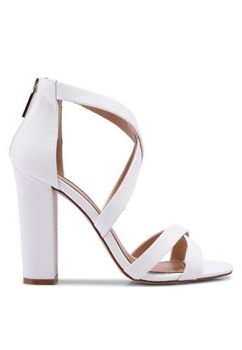 Miss KG 白色 交叉繞帶粗跟鞋 9F5F3SH5C511F0GS_1