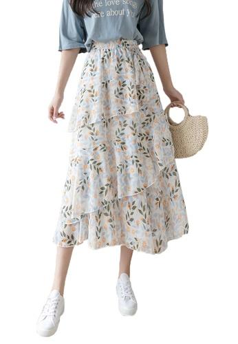Halo multi Floral Printed Ruffle Chiffon Skirt 72408AAD147706GS_1