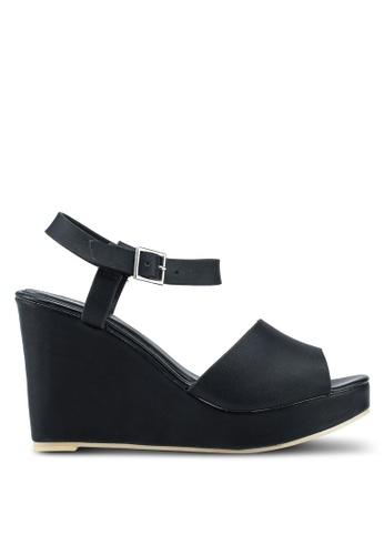 Nose 黑色 休閒楔型繞帶涼鞋 28E7ESH6366F72GS_1