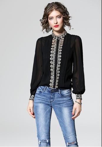 NBRAND black Pierced Embroidery Lantern Sleeve Shirt NB356AA0GQMGSG_1