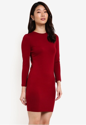 ZALORA red Basic Long Sleeves Bodycon Dress 28A8BZZDB46C7CGS_1