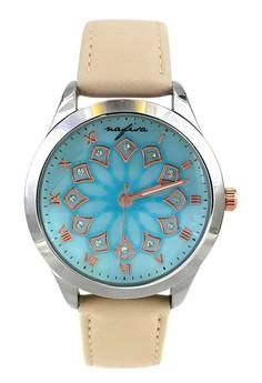 Nafisa Women's Light Blue Dial Beige Leather Strap Fashion Wrist Watch