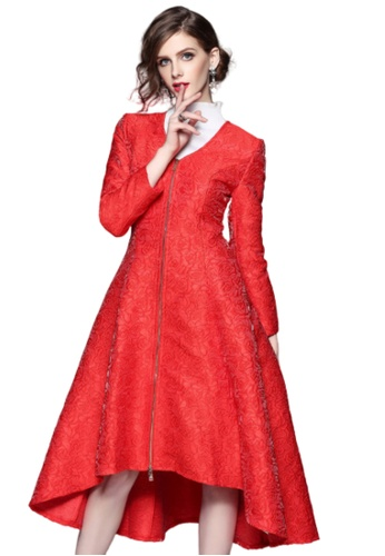 Sunnydaysweety red F/W Vintage and Elegant Flower Pattern Long Jacket UA1216190NEW 8CB93AA2F3397FGS_1