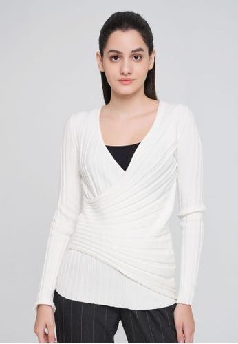 Sisley 白色 修身螺紋針織衫 6CA61AA14896A1GS_1