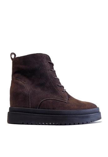 Twenty Eight Shoes 褐色 皮革內增高厚底中筒靴 VB991 ECDFFSH20B37A3GS_1