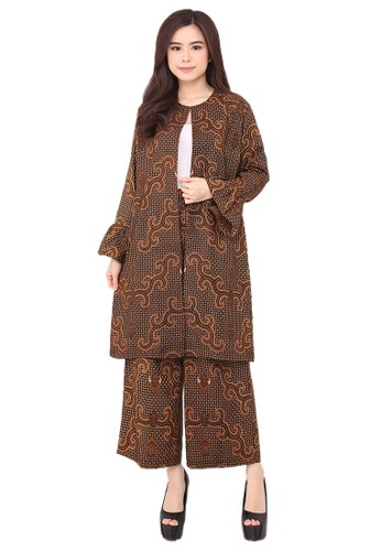 Flike Batik brown Set Long Coat & Cullote 05 Almeta (No Inner) 71FC5AA97EEDE3GS_1