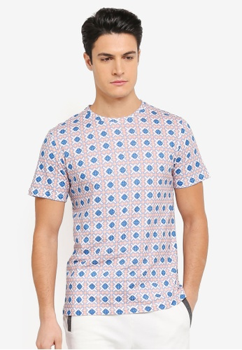 ZALORA blue and multi All Over Tessellation Print Tee 8BD21AAEF2921FGS_1