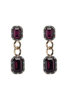 c39177460 River Island gold Double Amethyst Chain Drop Earrings 405F8ACE210F9DGS_1
