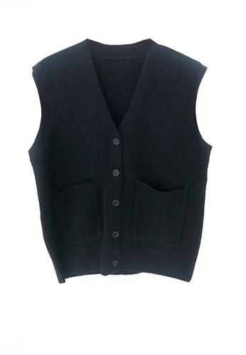 Twenty Eight Shoes black VANSA Knitted Vest Jacket  VCW-V15856258 C61A0AA04A7F6FGS_1