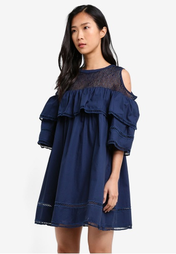KLEEaisons navy Cold Shoulder Mini Dress with Ruffles KL492AA0RVPGMY_1