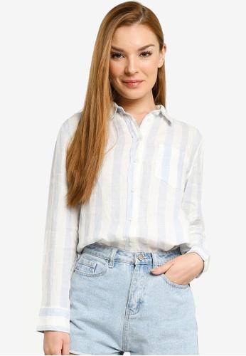 H&M white and multi Linen Shirt AA0CDAA168B9C5GS_1