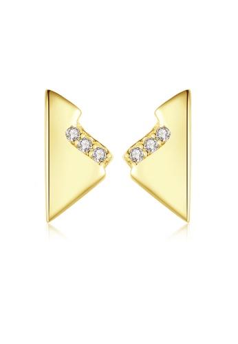SUNRAIS gold High quality Silver S925 gold simple design earrings CED98AC27CE937GS_1