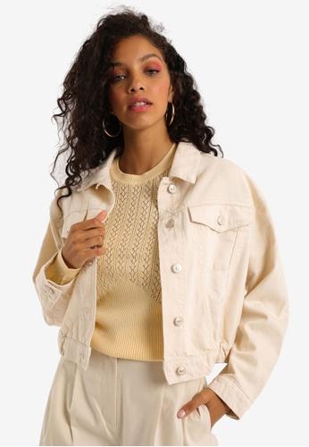 PIMKIE white Crop Denim Jacket EBF06AA91170DAGS_1