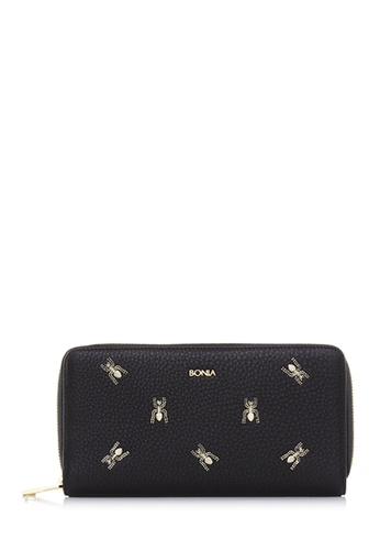 BONIA black Black The Nazca Zipper Wallet 00634AC8B00A48GS_1