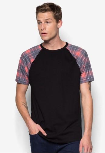 esprit au格紋拼袖TEE, 服飾, 印圖T恤